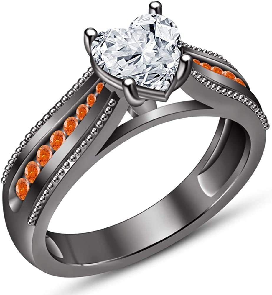 TVS-JEWELS White Gold Plated Solid 925 Sterling Silver Womens Solitaire with Accents Wedding Ring