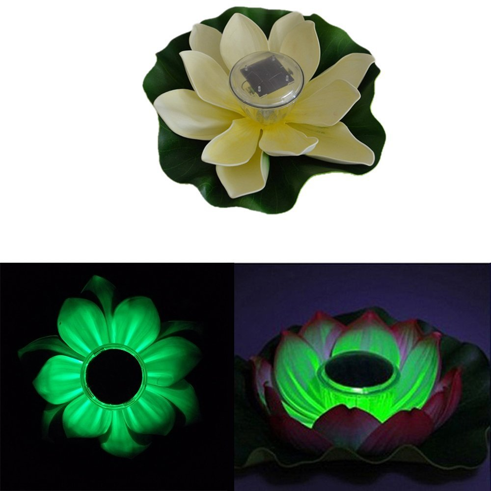 Solar Lotus Flower Light,AMZSTAR® Solar Powered Light Outdoor Waterproof Powered Light for Pool Pond Garden Night light (Green)