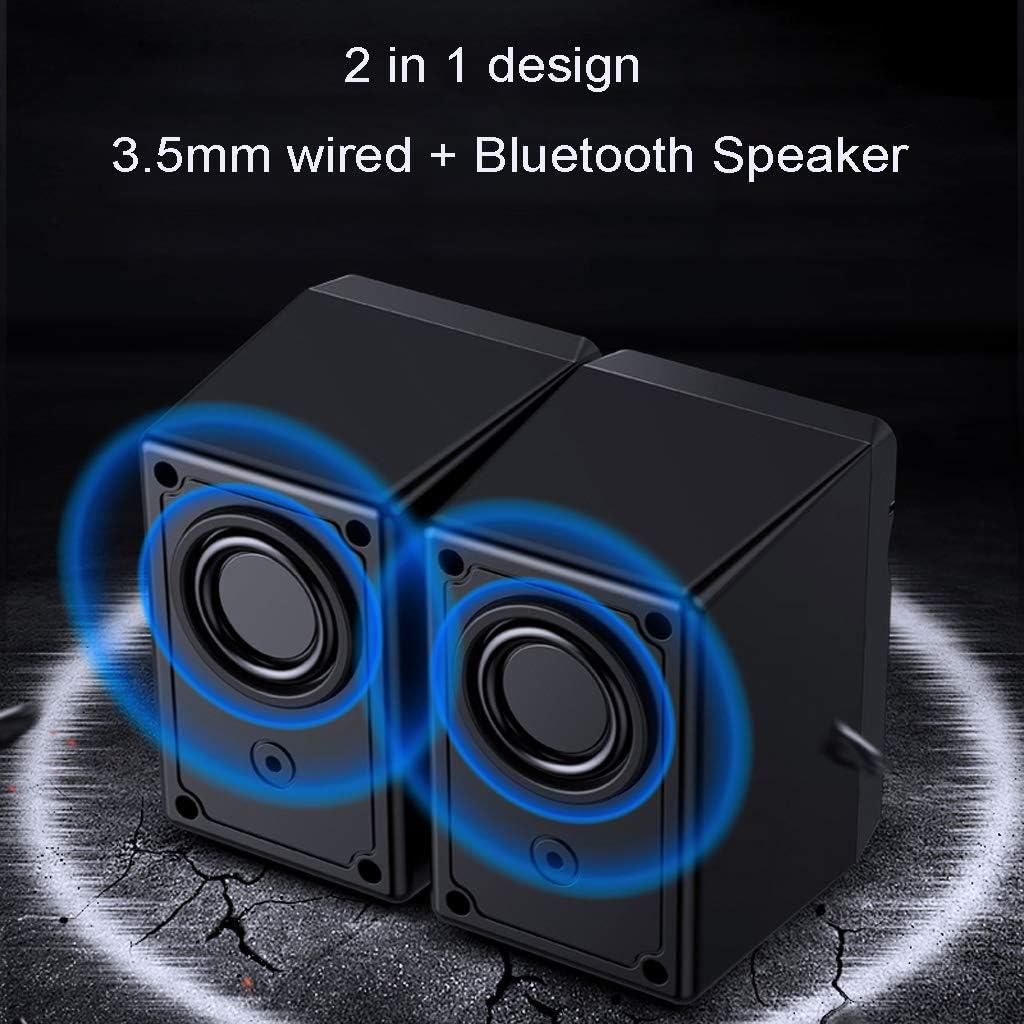 Huiingwen Altavoz Bluetooth 2 en 1 universal con alimentaci/ón por USB y LED para ordenador port/átil MP4 MP3 tablet tel/éfono m/óvil