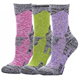 Outdoor Socks, 3-Pack Women's Crew Athletic Cushion Hiking Camping Running One Size