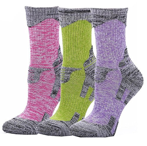 Outdoor Socks, 3-Pack Women's Crew Athletic Cushion Hiking Camping Running One Size by MOONUS