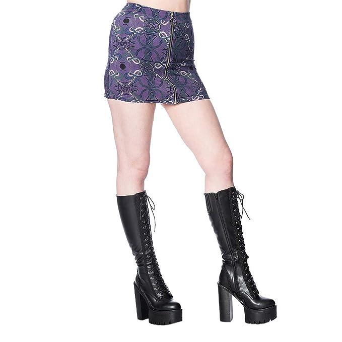 Banned Mini Falda Gótica Punk con Símbolos de Ocultismo Estampados ...