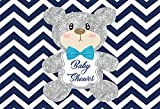 LFEEY 7x5ft Girl Boy Gender Reveal Party Background Dcoration White and Blue Chevron Silver Teddy Bear Backdrop Baby Shower Photography Back Drop Video Drapes Photo Booth Props