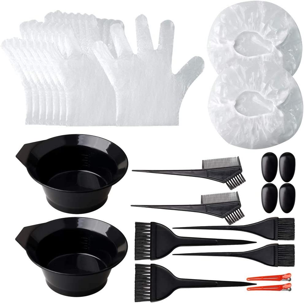 Pengxiaomei Hair Dye Coloring Kit, 26pcs Hair Dyeing DIY Tool Hair Tinting Bowl Dye Brush Disposable Gloves Cape Ear Cover for Salon and Home Use Hair Coloring