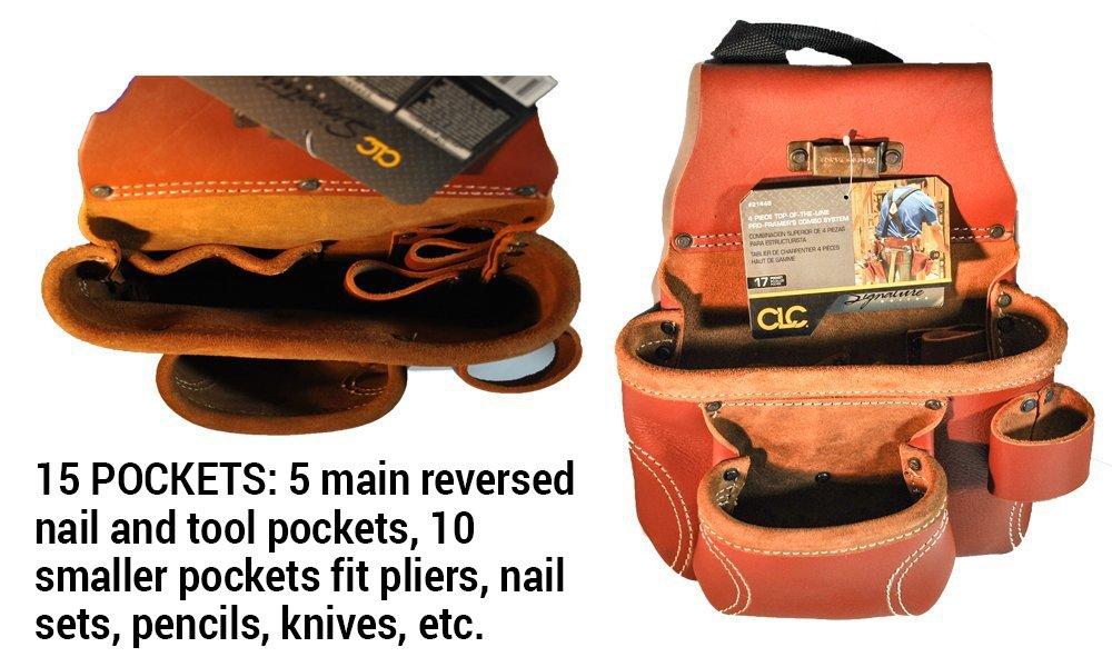 CLC Custom Leathercraft 21448 15 Pocket, 4 Piece Pro Framers Combo System Tool Belt by Custom Leathercraft (Image #7)
