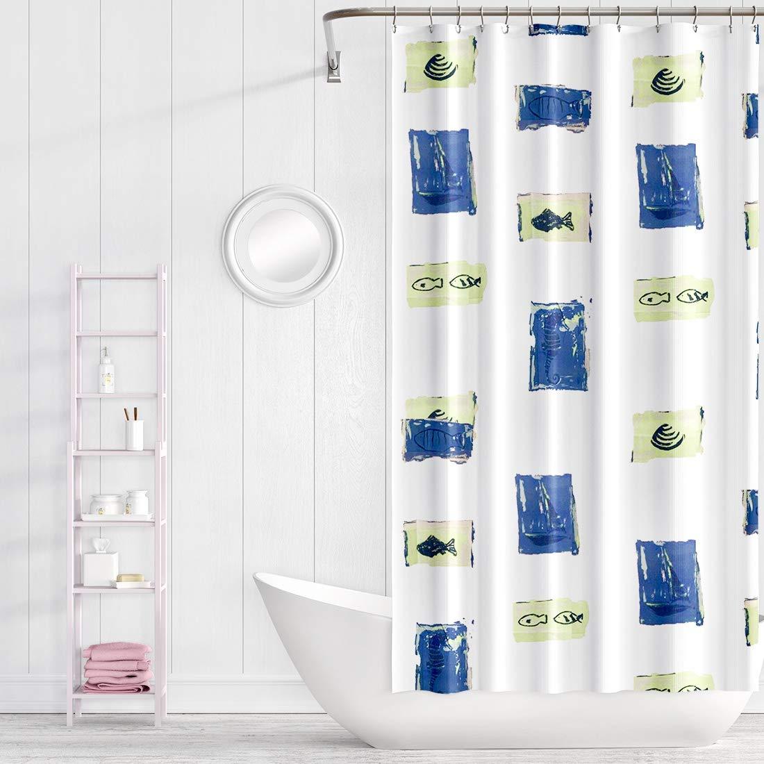 Under Ten Shower Curtain Decorative Hooks Bath Set (Treated to Resist Deterioration Mildew) - 72 x 70 inches (Blue)