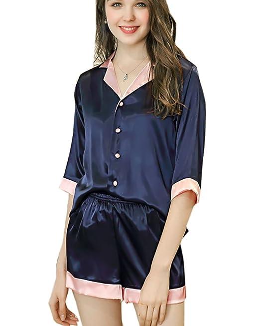 Aden Mujer Verano 2 in 1 Pijamas Sleepwear Corto Camisones Satin Pijamas con Bolsillo: Amazon.es: Ropa y accesorios
