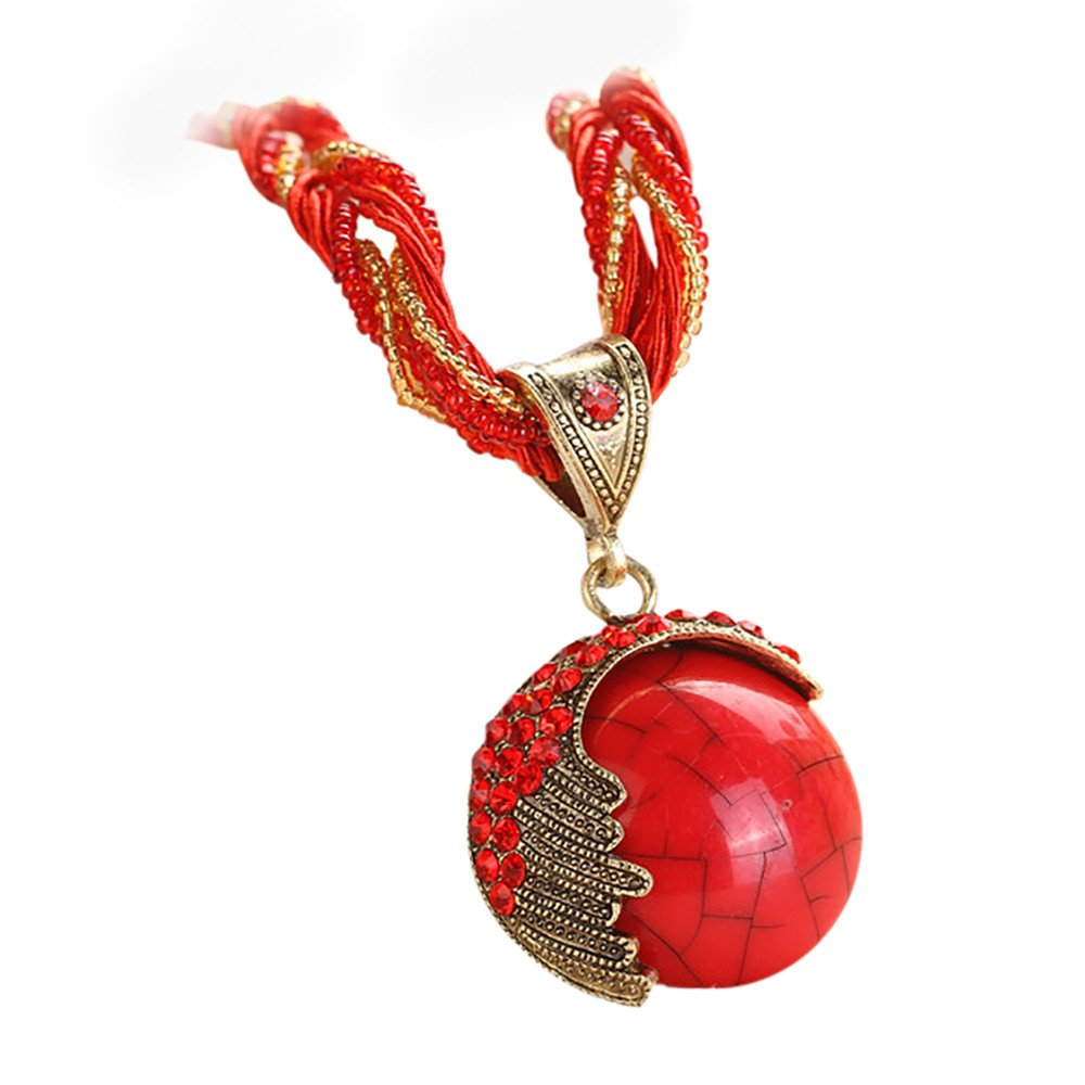 Retro Bohemian Turquoise Stone Pendant Collar Statement Chunky Necklaces for Women Beach (Red)