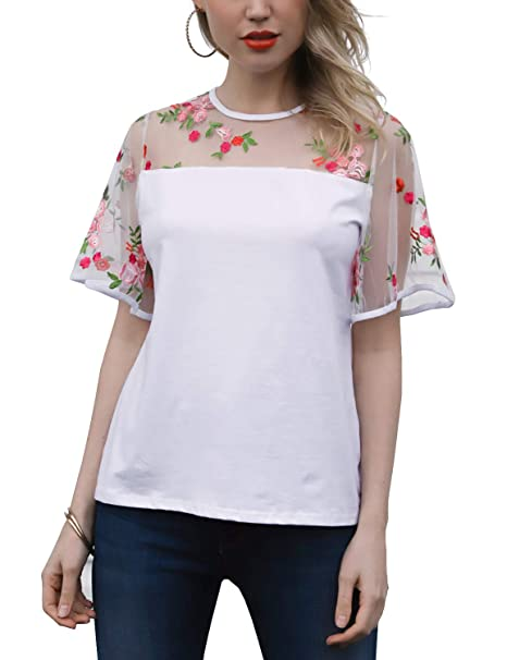 26ab3b1b37 Blooming Jelly Womens Short Sleeve Shirt Round Neck Floral Embroidered Mesh  Blouse Top(S,