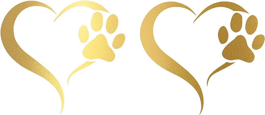 Finest Folia 2er Set Aufkleber Pfote Und Herz 10x11cm Hund Katze Sticker Für Auto Motorrad Wand Laptop Möbel Pfotensticker Hundepfote Selbstklebend K017 Gold Auto