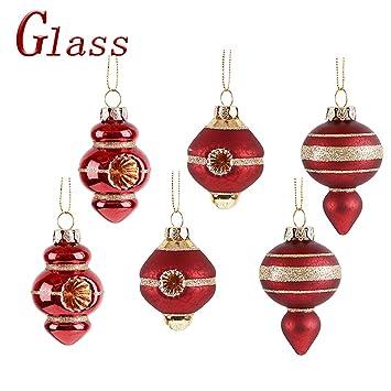 Valery Madelyn 6 Piezas Bolas de Navidad de Cristal, 5cm Oro Rojo Brillante Adorno Navideño