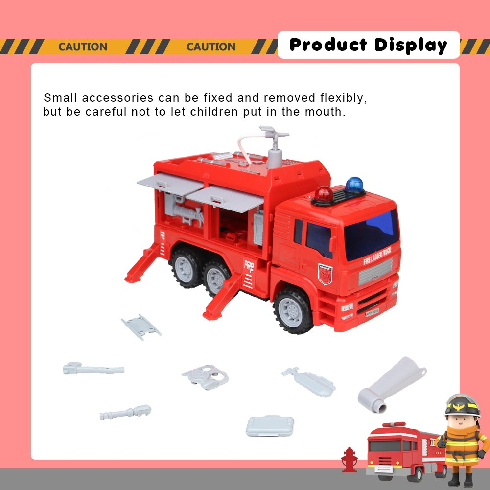 Nuheby Fire Engine Fire Truck Sturdy Red Emergency Vehicles with Water Pump and Accessories Truck for Kids 3+