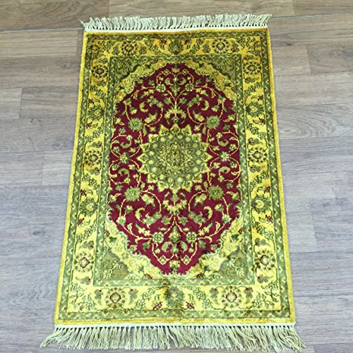 Yilong 2'x3' Antique Hand Knotted Tabriz Persian Silk Rug Oriental Classic Hand Woven Living Room Carpet G73C2x3