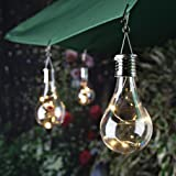 Solar Lights, Transparent solar copper lamp bulb chandelier waterproof rotating outdoor garden camping hanging LED bulb (clear)