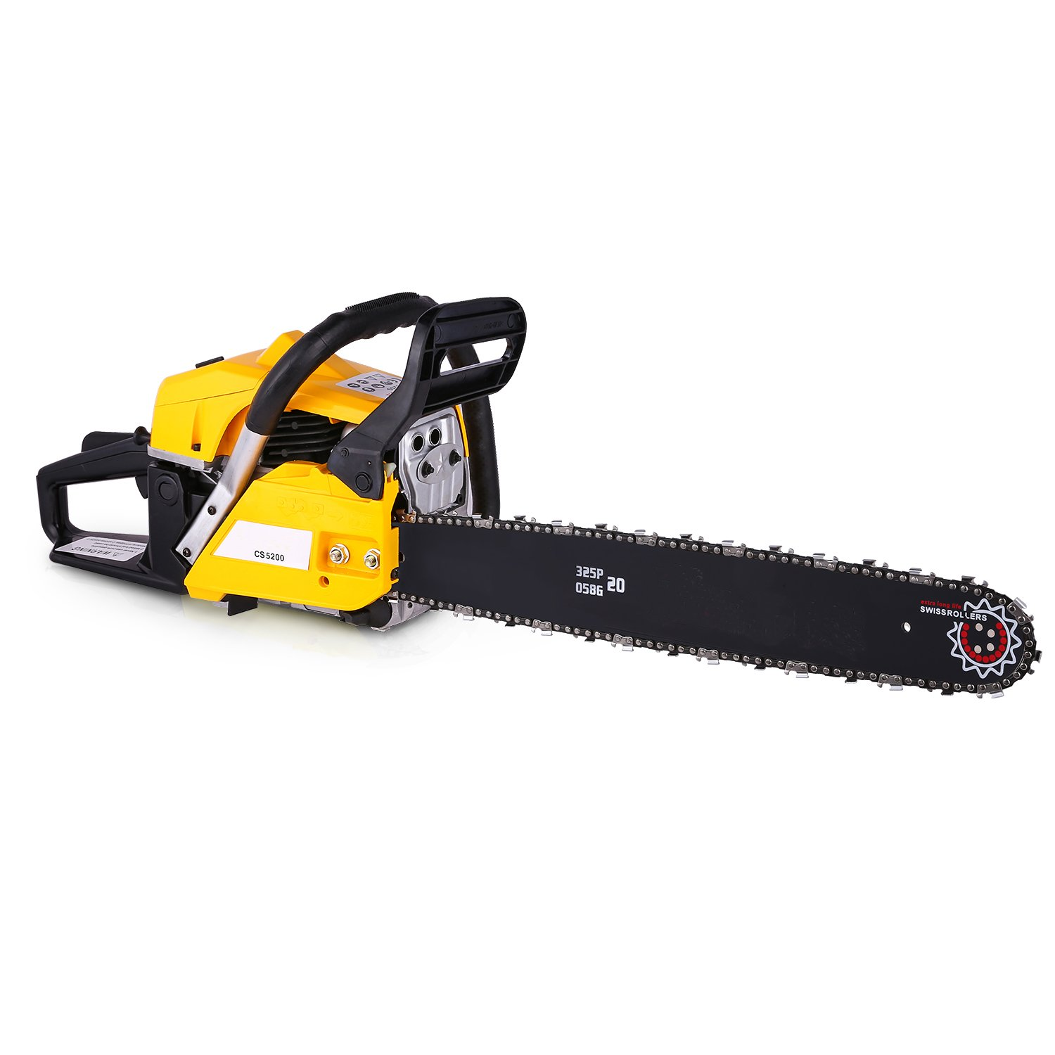 Korie 20-Inch 58cc Petrol Chainsaw - 3.4HP, 2-Stroke Gas Powered Chainsaw with Tool Bag- Cutting Wood Chainsaw for Farm, Garden and Ranch(US Stock) (52cc-Yellow)