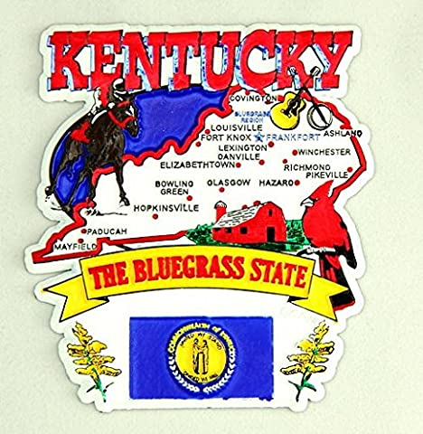 Kentucky State Elements Map Fridge Collectible Souvenir Magnet - Collectible Refrigerator Magnet