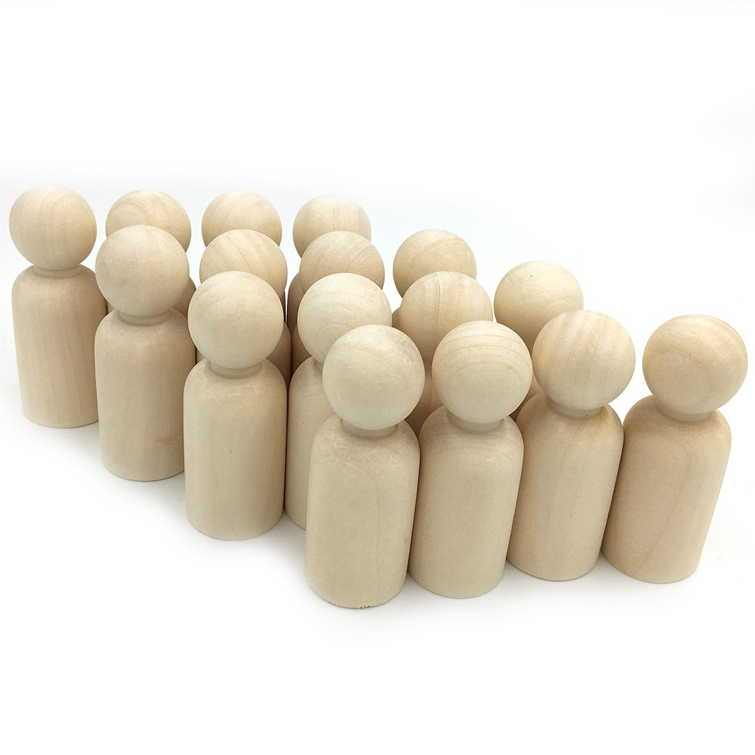 Coskiss 10pcs Madera Personas (chico) 2.56 (65mm) Solid Hard Nature Unfinished Alta Calidad Gangway Ready Paint o Stained Wooden Doll (Color madera 10pcs)