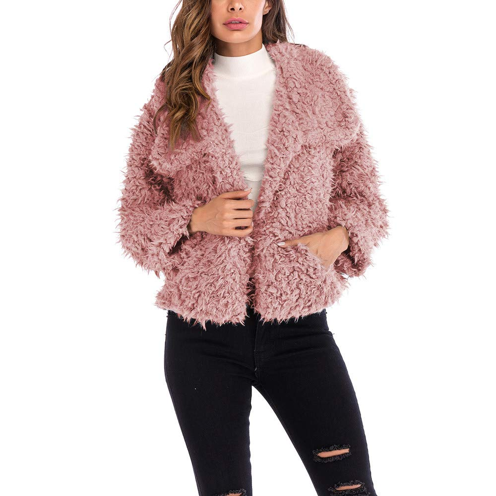 AMUSTER Damen Mantel Plü schjacke Winter Winterjacke Daman Langarm Plü sch Revers Mantel Teddy-Fell Fellimitat Jacke Tunika Parka cardigan Strickjacke