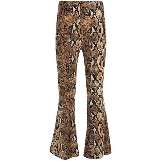 f0ed1d63dce075 Women Sexy High Waist Wide Leg Snakeskin Print Bell Bottom Pants Flare Pants  Palazzo Trouser at Amazon Women's Clothing store: