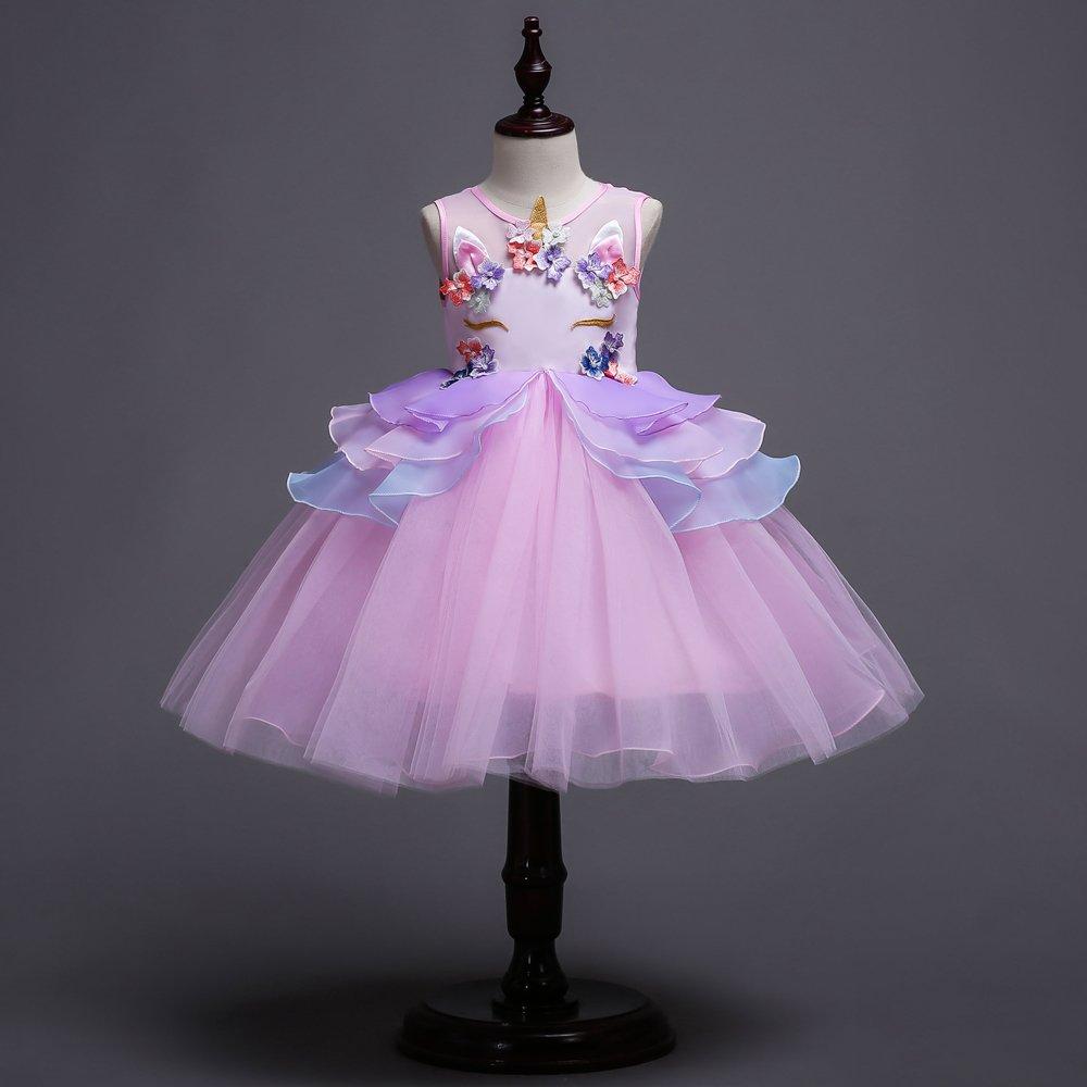 1f3860f33db97 Enfants Summer Unicorn Tutu Robe pour Les Filles Broderie Flower Ball Robe  bébé Fille Princesse Robes pour la fête