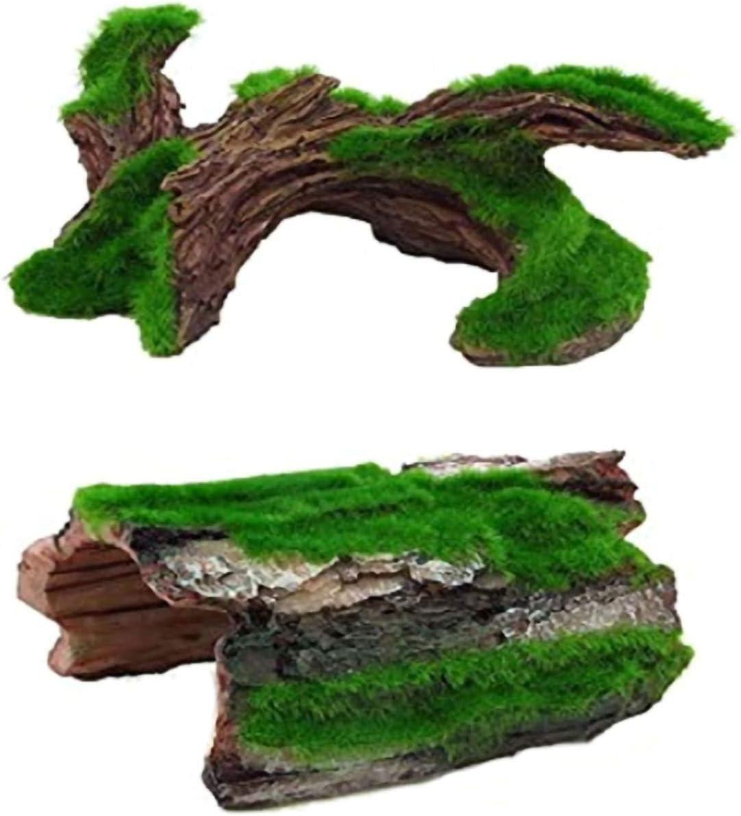 Aquarium Trunk Resin Driftwood Betta Log Hollow Tree Trunk Ornament Hideouts Reptile Cave Medium Fish Tank Decor 2Pcs