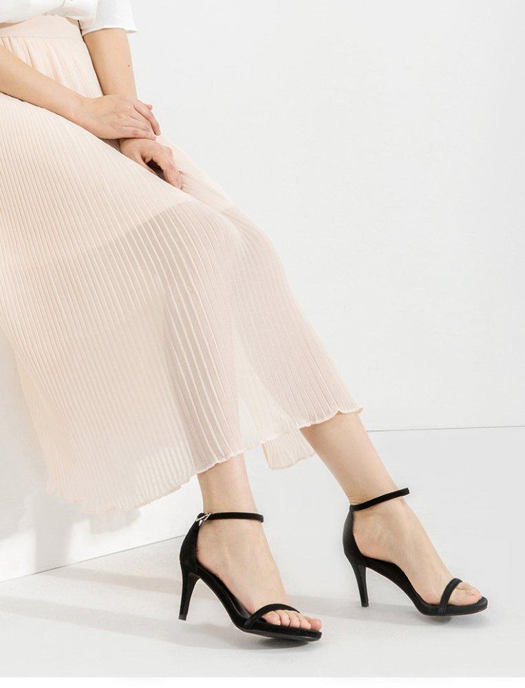 DHG Sommer Trend High Heels, Kleine Frische Damen Sandalen, Heels,Schwarz,35 Lässige Wort Schnalle High Heels,Schwarz,35 Sandalen, - 0193d6
