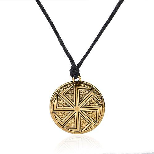 Slavic Kolovrat Sun Wheel Solar Symbol Talisman for Protection Necklace
