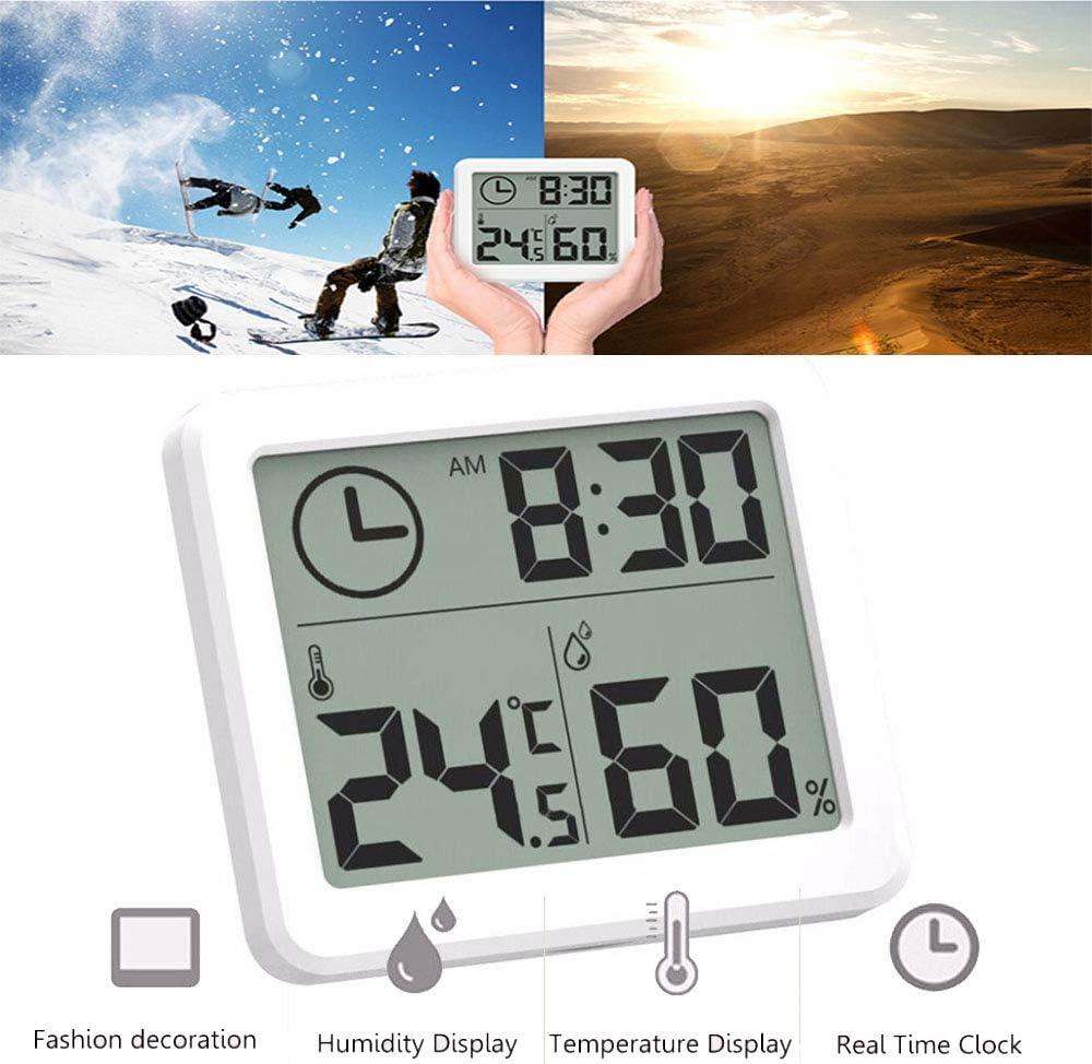 Konesky Digital Interior Termómetro del Higrómetro, Despertador de la Estación Meteorológica LCD C/F Conmutable Medidor de Humedad de Temperatura Soporte de Pared y Soporte de Mesa