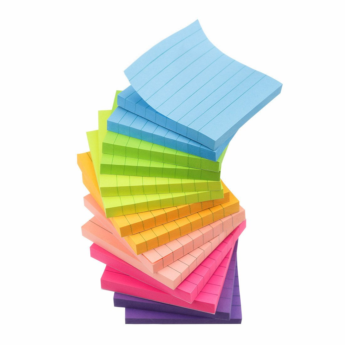 Early Buy 7 Bright Color Lined Sticky Notes Self-Stick Notes 3 in x 3 in, 80 Sheets/Pad, 14 Pads/Pack