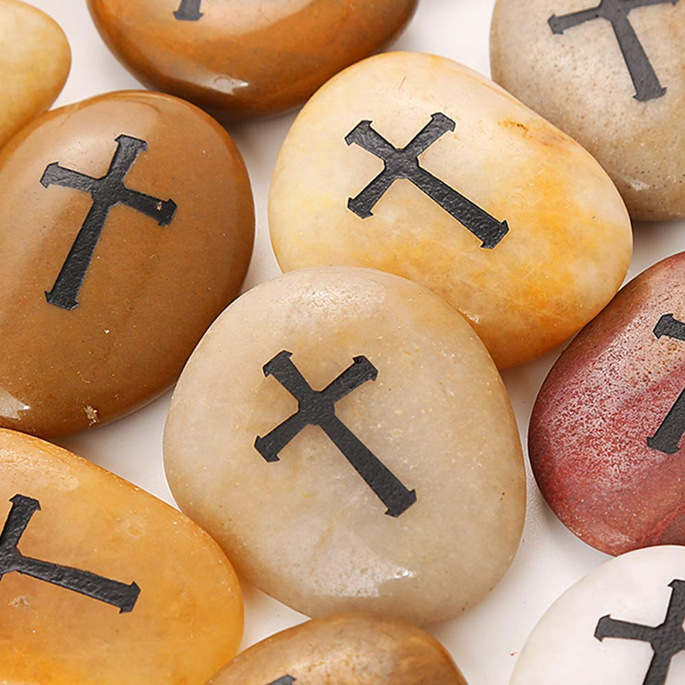 24 Pcs RockImpact Engraved Cross Worry Stones for Pray Faith Memorial Stones Smooth Polished Natural River Rock Baptism Christening Holy Communion Gift Wholesale Value (2-3 Inches Each, Set of 24) by Rock Impact