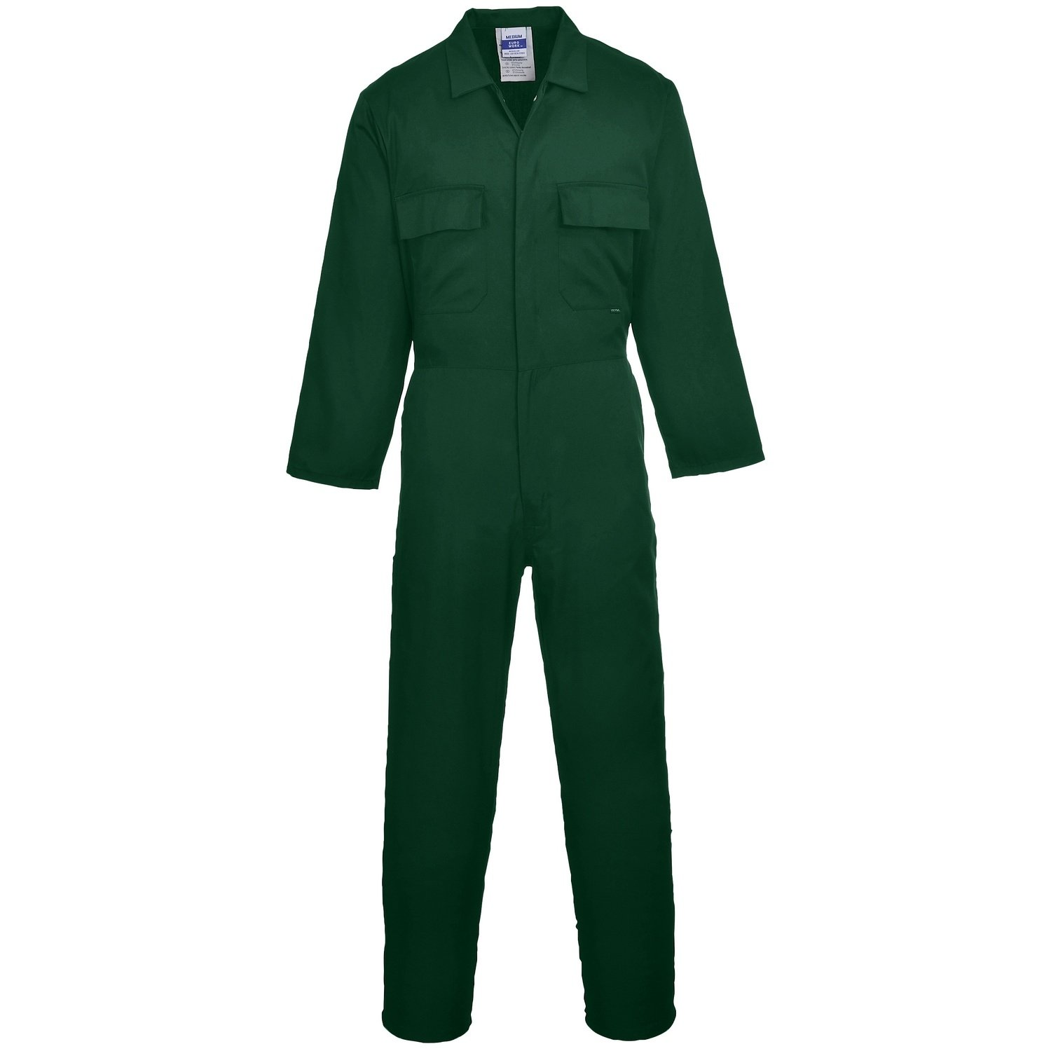 Euro Work Boilersuit Coverall Overall Stud Front Elastic Waist Workwear XS - 5XL[M] [Reg 31''] [Bottle Green] Universal Textiles S999BGRM