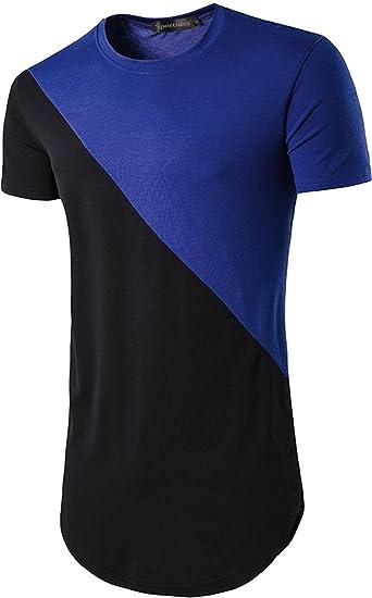 075832122f8 Sportides Mens Hipster Hip Hop Longline Slim Fit Short Sleeve T-Shirt Tee  Tops JZA041