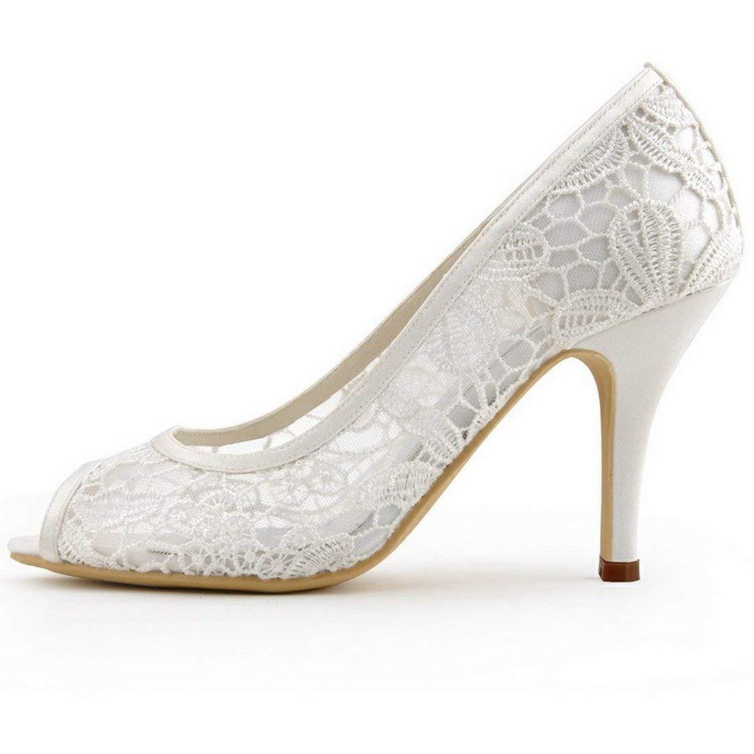 ZHRUI Damen Floral Mesh Peep Peep Peep Toe Elfenbein Spitze Braut Hochzeit Formale Partei Sandalen UK 8 (Farbe   -, Größe   -) c1d30c