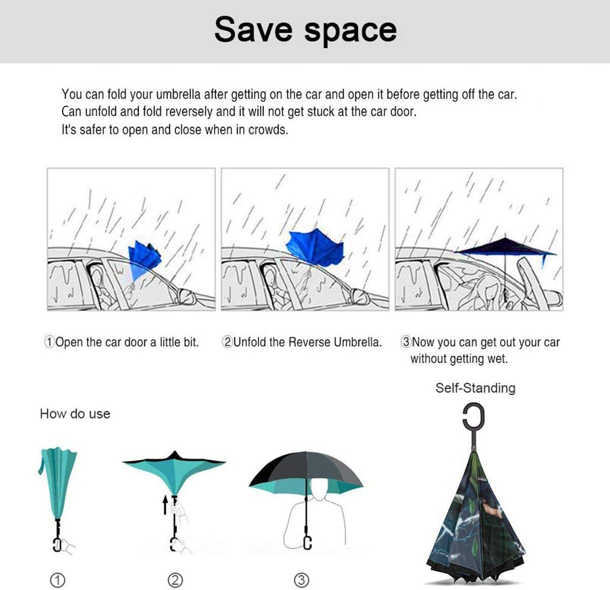 With C-Shaped Handle UV Protection Inverted Folding Umbrellas Windproof And Rainproof Double Folding Inverted Umbrella Naruto Hatake Kakashi Car Reverse Umbrella