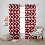 Exclusive Home Durango Geometric Printed Woven Sateen Window Curtain Panel Pair with Grommet Top, 52×84, Mecca Orange, 2 Piece