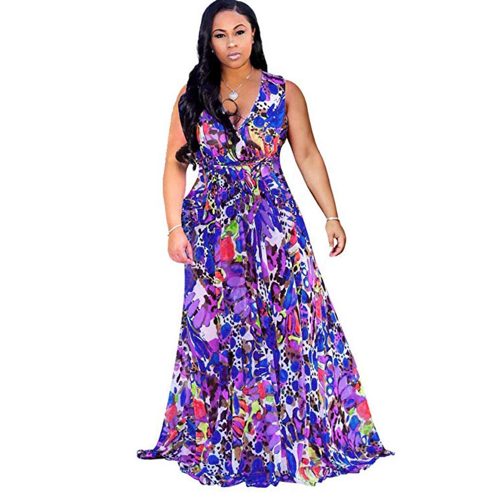 f79efb9acf73 Womens Stylish Chiffon V-Neck Printed Floral Maxi Dress with Waisted Belt Plus  Plus Size Dresses for Women Casual Summer at Amazon Women's Clothing store: