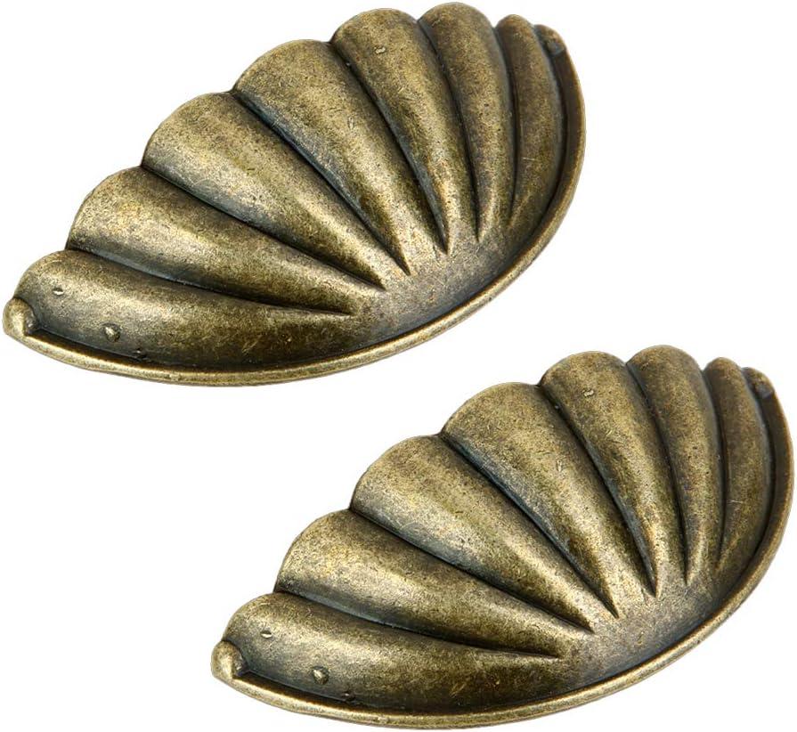 Bronce Con Forma De Concha Armario Del Caj/ón Tiradores Manijas Armario Caj/ón Puerta Del Gabinete Perillas Y Manijas De Cocina Paquete De 2