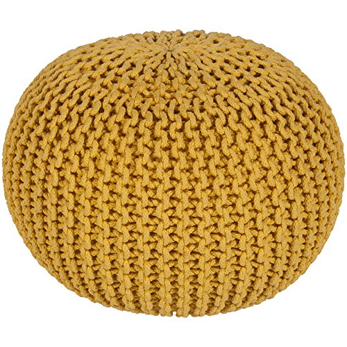 Surya MLPF-002 100-Percent Cotton Pouf, 20-Inch by 20-Inch by 14-Inch, Sunflower (Sunflower Storage Stool)