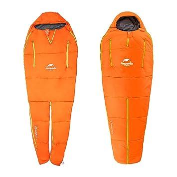 Saco de Dormir Tipo Momia , OUTERDO 2 in 1 Ligero de Viaje Cálido Camping Bolsas de Dormir 3-4 Estaciones Azul y Naranja: Amazon.es: Deportes y aire libre