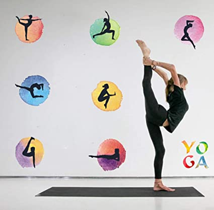 Amazon.com: TOARTi Watercolor Yoga Wall Decal, Yoga Poses ...