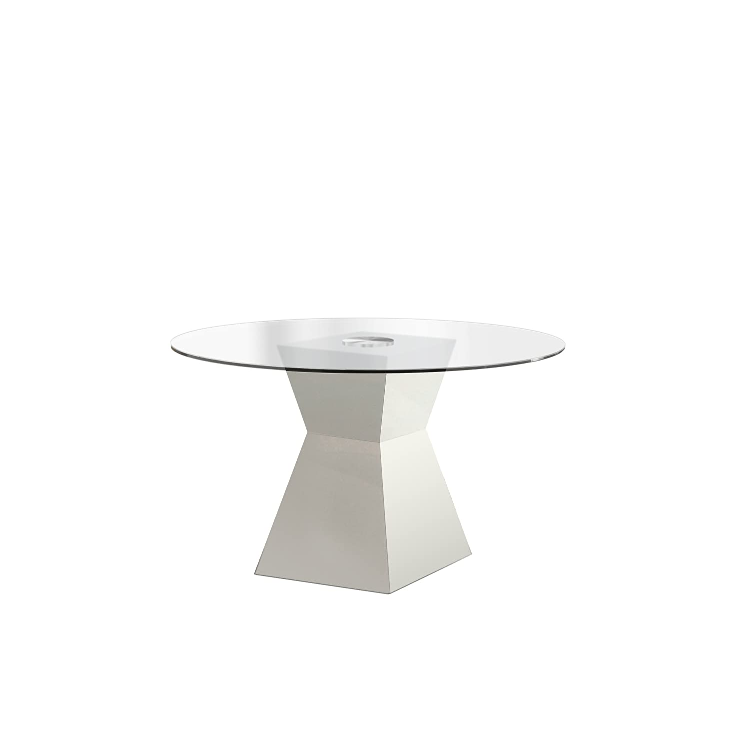 Furniture of America Ethervale Modern Round Dining Table with 12mm Tempered Glass Top, White Finish
