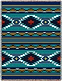 Southwest Geometric Cornflower Tapestry Throw Blanket USA Made by Pure Country Weavers