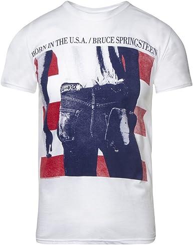 Bruce Springsteen Camiseta USA de Manga Corta (Blanco): Amazon.es: Ropa y accesorios