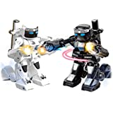 Sacow 2PC RC Battle Boxing Robot Toys, Remote Control 2.4G Humanoid Fighting Robot, Two Control Joysticks Real Boxing Fight Experience (Black & White)