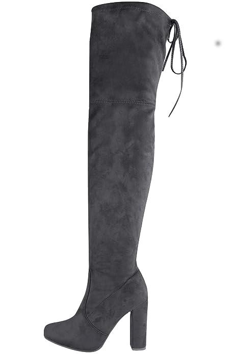 Damen Blockabsatz Stiefel Boutique® Schuhe Fantasia Strümpfe Spitzenkrawatte Overknee Veloursleder OyvN8wmn0