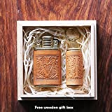 2 pcs set Personalized gift Vintage Lighter Genuine Leather cover FREE Engraving SN-001B+D