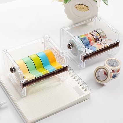 Eteng Washi Tape Dispenser Cinta Adhesiva Roll Organizador titular 2 piezas (naranja)