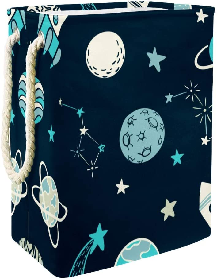 Unicey Space Elements Rocket Star Planet Laundry Hamper Waterproof Dirty Clothes Laundry Basket Collapsible Laundry Basket