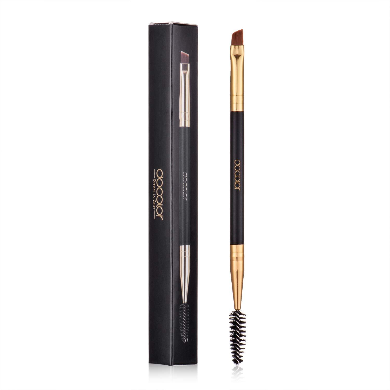 Duo Eye brow Brush, Docolor Professional Tool, Angled EyeBrow Brush and Spoolie Brush Black