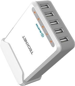 TeckNet – 50 W 5 V/10 A 6 puertos Cargador USB familiar, cargador ...